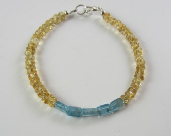 Citrine and Aquamarine Bracelet Dainty Gemstone Bracelet
