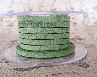vintage Green 5 mm flat leather European quality