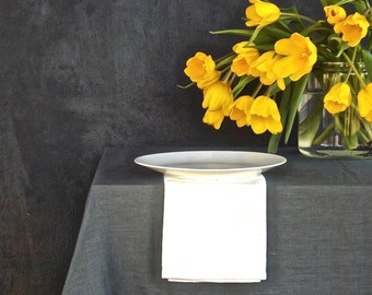 "80"" linen tablecloth, Modern tablecloth, Grey tablecloth, Charcoal tablecloth, Natural tablecloth, European linen tablecloth,"