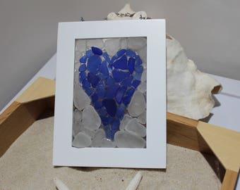 Sea Glass Mosaic - Blue Heart