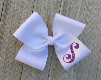 Large White Monogrammed Hair Bow,Letter S,Alligator Clip,5 Inches Wide,More Letters and Colors Available