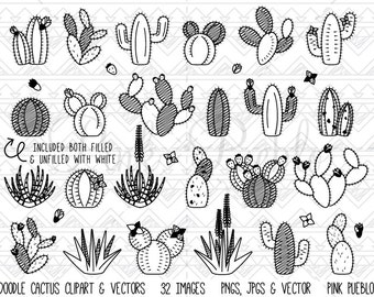 Doodle Cactus Clipart Clip Art, Cactus Digital Stamps, Succulent Clipart Clip Art, Succulent Digital Stamps - Commercial and Personal Use