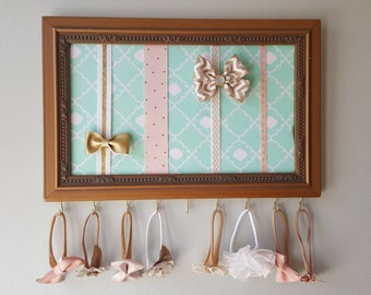 Gold and mint bow and headband holder