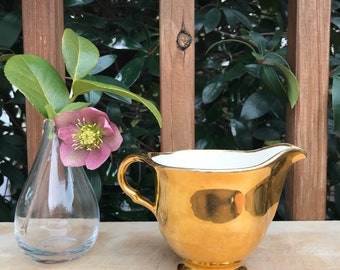 Antique Limoges Gold and White Creamer made in USA