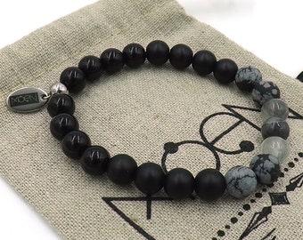 MOEN bracelet Black Magic/Black Stone, Netstone and smoked Cuaro