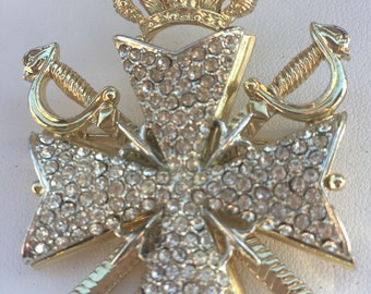 Maltese Cross with Swords and Crown Gold Tone with Rhinestones