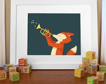 "Digital File - Nursery Kid's Room Wall Art, Fox playing Trumpet, ""What does the Fox play?"", woodland theme illustration, instant download"