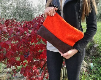 Clutch in orange casentino cloth and brown leather