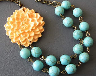 Peach Necklace Turquoise Jewelry Flower Necklace Peach Jewelry Statement Necklace Beaded Necklace