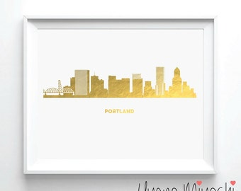 Portland Skyline Gold Foil Print, Gold Print, Custom Print in Gold, Art Print, Portland Oregon City Skyline Gold Foil Art Print
