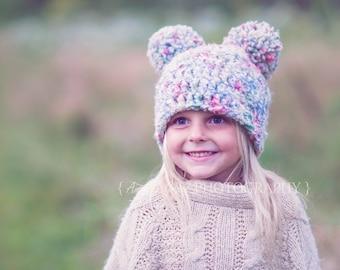 Girl's Size 4/6 Crocheted Pom Hat