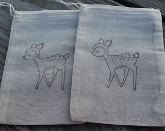 Set of 10 Hand stamped Deer Woodland Bag Muslin Party Favor Bags 100% organic made in america