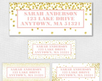 Gold Confetti Stars Return Address Labels - Any color border and wording -  You Print