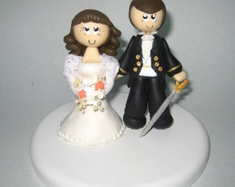 Rustic wedding cake topper, military wedding cake topper