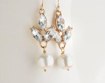 Bridal Crystal Earring, Pearl Earrings, Bridal Earrings, Crystal Earrings