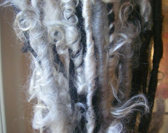 Handspun Corespun Bulky Art Yarn in Natural White Mohair Locks with Black Wool Roving by KnoxFarmFiber for Weaving Knitting Embellishment