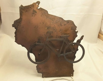 "WI24 Wisconsin state sign with Bike and Patina metal 12"" tall"