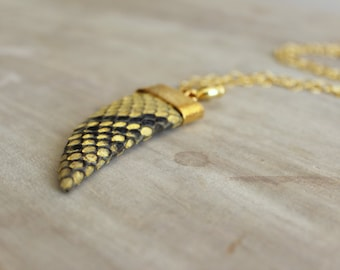Yellow Python Covered Teeth Necklace with Gold Filled Silver Chain, Teeth Pendant, Python Necklace