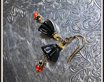 Black Licorice Earrings with bright orange accents handmade gift