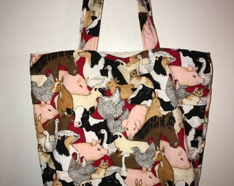 "Country Barnyard friends w/matching handles cotton fabric handmade 16"" Tote Bag"