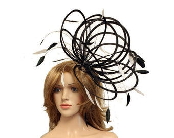 Black and White Large Feather Fascinator Hat - Perfect for a Mother of The Bride, ladies day - choose any colour feathers and satin