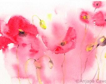 Poppy Design 4 - Blank Greetings Card, Watercolour Card, Watercolor Card, Poppy Card, Poppy Landscape