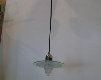 Vintage Mid Century Modern Chrome and Glass Saucer Pendant / Hanging light fixture