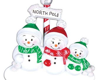 North Pole Family of 3 Personalized Christmas Ornament - Personalized Names