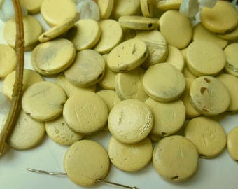 set of 10 wooden beads in coin shape