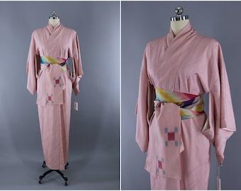 Vintage Silk Kimono Robe / Vintage Dressing Gown / Vintage Lingerie Robe / Loungewear / 1950s Light Pink