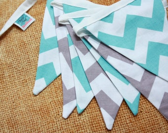 Chevron Fabric Flag Bunting. Photo Prop, Nursery Decoration, Party Banner, Shower Decor. Aqua and Gray. Ready to Ship.