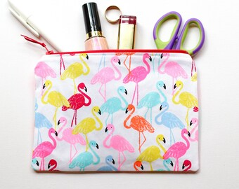 Fluro Flamingo zippered pouch / clutch / pencil case