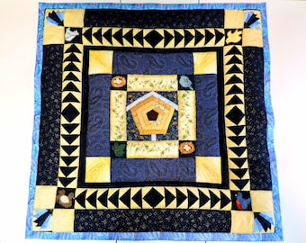 Birdhouse Lap or Baby Quilt With Hand and Machine Sewing In Multitude of Blues and Yellows