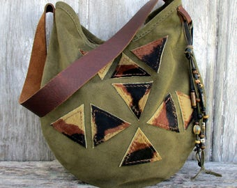 Leather Handbag in Geometric Triangles, Suede Leather Shoulder Bag by Stacy Leigh in Olive Green Soft Italian Calf Suede and Hair on Cowhide