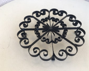 Vintage black forged iron trivet Spanish revival style round 7""