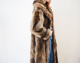 Vintage 70s Long Fur And Leather Jacket
