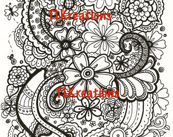 Flower Zentangle Coloring Page (#3202)