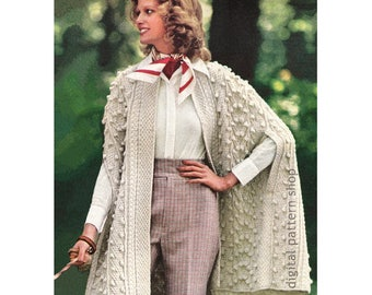 Wrap Cape Knitting Pattern Aran Knit Cape Pattern Womens Arm Slits Bobbles Cables Zigzags Poncho PDF Instant Download Pattern K109