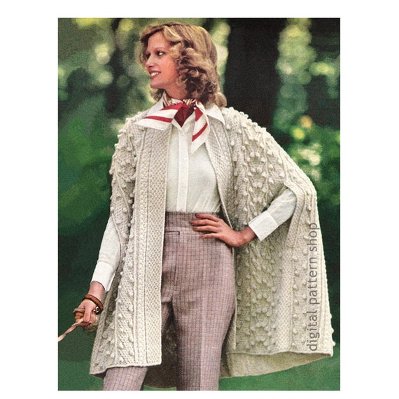 Wrap Cape Knitting Pattern Aran Knit Cape Pattern Womens Arm Slits