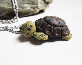 Turtle necklace, Cute teen girl gift, Idea for birthday present, Animal lovers jewelry, Cool summer jewellery, Polymer clay Handmade