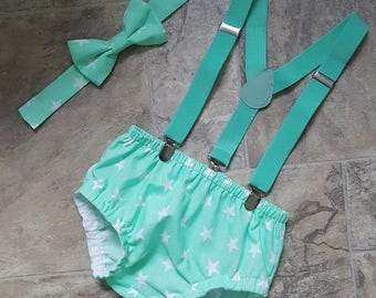 Baby boys mint green cake smash birthday outfit braces bowtie