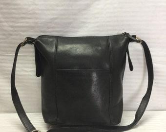 Black Leather Shoulder Bag Purse, St. John's Bay