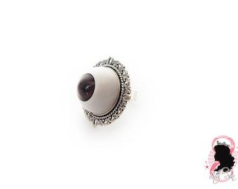 Antique Silver & Brown Eyeball Ring, Brown Eye Ring, Brown Evil Eye Ring, Silver Eyeball Ring, White Eyeball Ring, Doll Eye Ring, BJD Eye