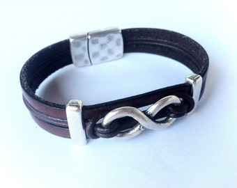 Leather Bracelet,  infinity bracelet, Personalized bracelet, Personalized infinity, bracelet for men, customized bracelet, birthday gift men