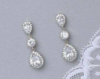 Crystal Bridal Earrings, Crystal Teardrop Wedding Earrings, Bridal Jewelry, Wedding Jewelry, Bridesmaids Earrings TAMARA S 1