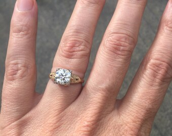 Reserved: 14K 1.37 Carat FLAWLESS Diamond Solitaire Victorian Art Nouveau Deco Rose Yellow White Gold Fishtail Engagement Ring WWII Germany