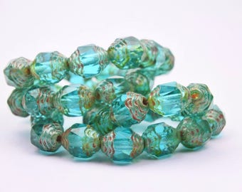 Czech glass beads-Cathedral barrel beads-8x6mm-Turquoise Green Picasso Transparent-20 PCs
