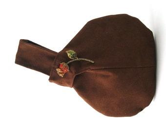 brown handbag, brown clutch purse, small fabric handbag, wristlet bag, evening bag, vegan purse bag