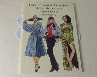 Paper Doll Booklet, Great Fashion Designs of the Seventies, Tom Tierney, 1996. Uncut