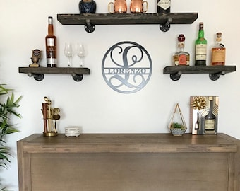 "6"" Floating Industrial Shelves, SteamPunk Shelves, Rustic Wood Shelving, Wooden Shelves, Iron pipe, Wall Decor"